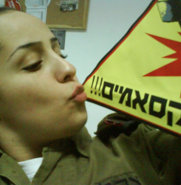 Israeli Soldier Eden Abergil Facebook photo - kissing